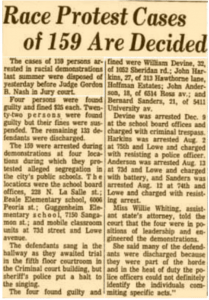 A 1963 clip from the Chicago Tribune mentioning Sanders arrest