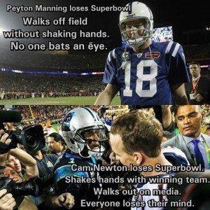 (Top) Peyton Manning after 2010 Superbowl XLIV defeat to the Saints (Bottom) Cam Newton and Peyton Manning after Superbowl 50