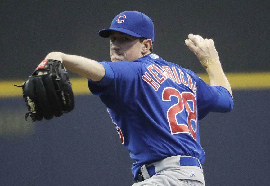 Kyle Hendricks during his May 17th start against the Milwaukee Brewers, sandiegotribune.com