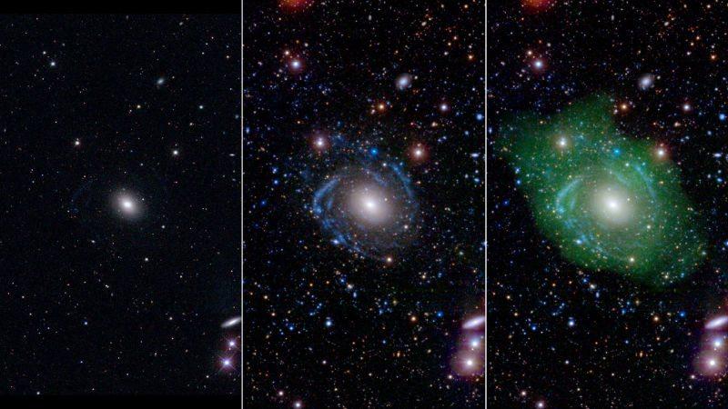 Galaxy UGC 1382 in optical (pane 1) ultraviolet (pane 2) and ultraviolet and radio (pane 3) views. (PHOTO: NASA/JPL/Caltech/SDSS/NRAO/L. Hagen and M. Seibert)